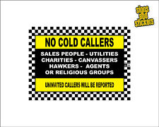 No Cold Callers Sign Sticker, No Canvassers, Religious Groups, Sales, (CC1)