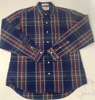 Vintage John Ashford Mens Shirt Multi Plaid Long Sleeve Size L 1980s 1970s