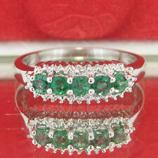 Genuine Diamond Emerald Solid Silver 5 Stone Anniversary Ring White Gold Finish