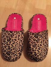 NUOVI Barratts Leopard Pantofole Marrone e Rosa Taglia 3-4