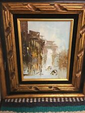 Vintage Oil Painting Framed Rainy Day In A City?