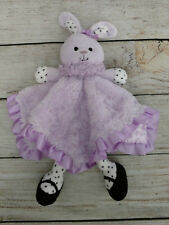 Baby Starters purple black dots bunny rabbit security blanket rattle plush satin
