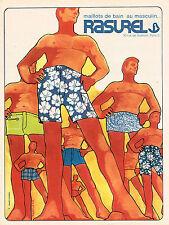PUBLICITE ADVERTISING 045  1969  RASUREL  maillots de bain caleçons MITSCHKE