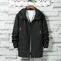 Men's Hooded Jacket Long Sleeve Loose Casual Zipper Coat Windbreaker New Fashion