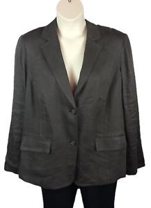 Womens Alfani Button Down Brown Blazer Jacket Plus Size 20W Linen Blend Long Slv
