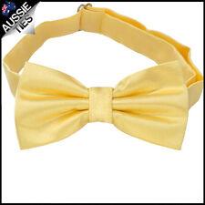 MENS LIGHT GOLD BOW TIE Bowtie Pre-tied wedding tuxedo lemon yellow microfibre