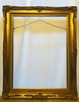Vintage Wood Ornate Gold Gilt Cloth Inlay Wall Frame 24x18 Outside Is 23x29.5