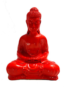 Buddha Ornament Meditating Sitting Figure Statue Figurine Red High Gloss Finish