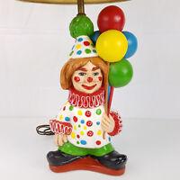 Vtg 1975 Creepy Scary Evil Clown Chalkware Plaster Table Lamp (Tuscany Studios)