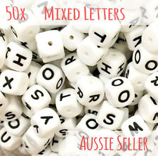 50x mixed silicone letter beads alphabet names DIY teething sensory jewellery