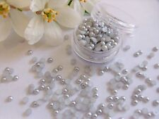 3mm Silver Pearls Pot Round App 250 Flat Back Wedding Nail Art Craft Decoration