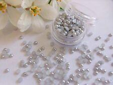 3mm Plata Perlas Olla Redonda App 250 reverso plano Boda Decoración Nail Art Craft