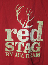 Red Stag by Jim Beam Whiskey Liquor Distressed Look Red T-Shirt Adult XL