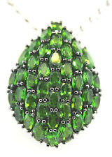 Oval n Pear Shape Russian Chrome Diopside Sterling Silver Pendant  Chain