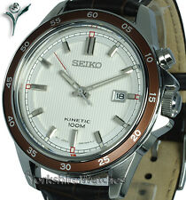 New SEIKO KINETIC SATIN WHITE DIAL SPORTS With LEATHER BUCKLE STRAP SKA645P1