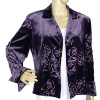 JONES NEW YORK Womens Jacket Blazer Purple Velvet Size 10