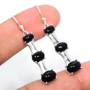"""Black Onyx - Brazil Gemstone 925 Sterling Silver Earring Jewelry 1.64"""" S2772"""