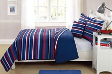 Fancy Linen 4pc Full Size Bedspread Striped Navy Blue Red White Reversible New