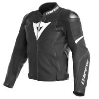 Dainese Avro 4 Leather Jacket Black White Leather Sport Motorcycle Jacket New