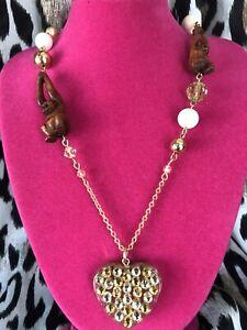Tarina Tarantino Vintage Cocobanana Carved Monkey Swarovski Heart Gold Necklace