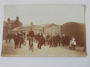 Rare vintage RPPC dinner hour St Nicholas Ironworks Kings Lynn 1905 children
