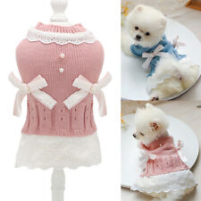 Small Dog Sweater Dress Cute Warm Knitted Puppy Jumper Leis skirt with Bow Knot