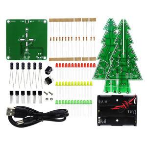 DIY 3D LED Flashing Christmas Tree Circuit Kit Glitter Electronic Learning Set