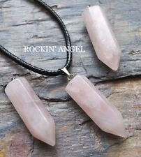 Natural Rose Quartz Point Pendant Necklace, Reiki Healing  Ladies Gift Crystal