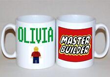 Lego mug green personalised name mug Master Builder Boy Girl xmas gift to order