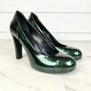 Hogan Green Patent Leather Chunky Heels Size 39 US Size 9 NWOB