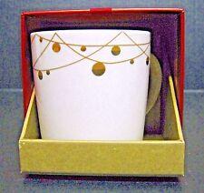 Starbucks Mug 2012 IWhite Gold Xmas String Lights 14oz New Bone China NIB