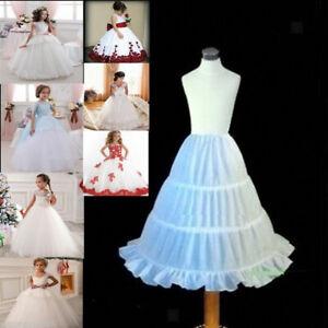 Kid Girls Petticoat Flowergirl Crinoline UnderSkirt 3-Hoop Children Age 2-14