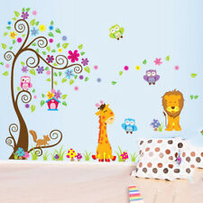 Removable Wall Stickers Cute Lion Giraffe Owl Tree Decals Kids Room Decor SKY