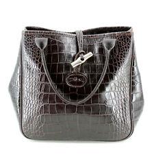 Longchamp Roseau Leather Croc Embossed Tote Bag Top Handle Small Handbag Brown