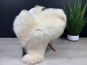 Cream White Dark Brown Spots Natural Seat cover pet bed throw rug Sheepskin Rug