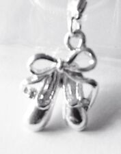 SILVER BALLET SHOES WITH BOW CLIP ON CHARM FOR BRACELETS - S/P - VISIT MY SHOP