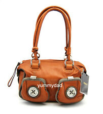 MIMCO MINI METAL BUTTON ZIP TOP BAG IN BURNT TERRACOTTA BNWT RRP$399