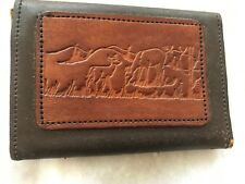 Hand crafted brown leather with embossed woodland scene trifold wallet mens