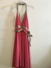 BCBG Paris Rose Pink Metallic Trim Halter Neck Size 8 Party Cocktail Women Dress