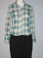 HARVE BENARD Size S Blue Diamond Pattern Long Sleeve Button-Down Blouse