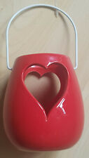 Red Ceramic Heart Lantern Candle Holder