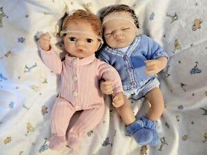 """Ashton Drake Tiny Miracles Linda Webb Emmy 10"""" baby doll girl and 10"""" Charlie ba"""