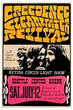 John Fogerty & Creedence Clearwater Revival  Seattle Concert Poster 1969  12x18