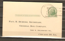 1947 Palmyra IN Four Bar Cancel on Postal Card Proxy Vote General Box Company