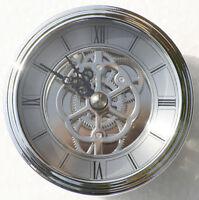 Skeleton Clock 80mm diameter quartz insertion, silver finish.