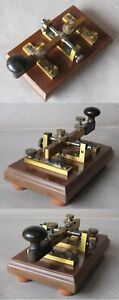ANTIQUE BIG BRASS MORSE TELEGRAPH KEY / ca 1900s / RARE