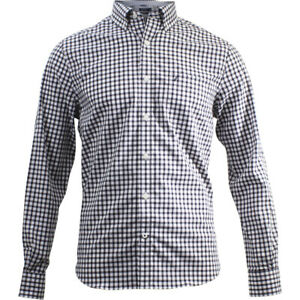 Nautica Classic Fit Maritime Navy Plaid Long Sleeve Button Down Shirt