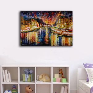 50×80×3cm Framed Canvas Prints Riverside Night Boats Wall Art Home Decor Gift