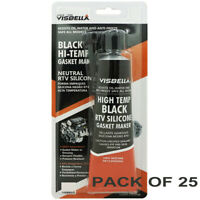 Visbella RTV Silicone Gasket Maker Black 3 oz. High Temp 600°F Sealant, 25 pack
