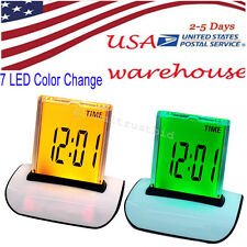 1Pc 7 Colors Changing Digital LCD Thermometer Calendar LED Alarm Clock Nice